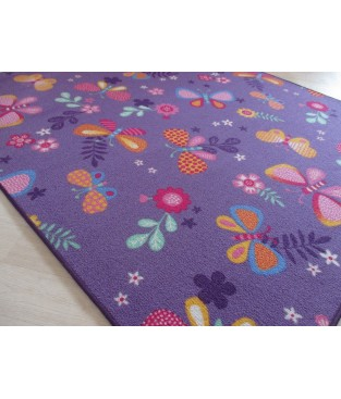 Kinder Spiel Teppich Schmetterling Blume Lila