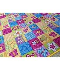 Kinder Spiel Teppich Patchwork pink gelb Bunt auch in Rund