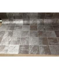 PVC CV Bodenbelag (7,99 €/m²) Fliese Premium granit grau alu schwarz 200 cm Boden