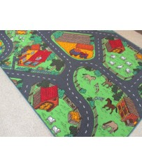 Kinder Spiel Teppich Straßenteppich Farm City