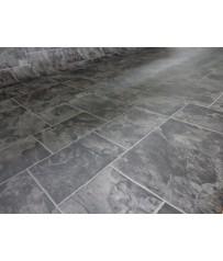 PVC CV Bodenbelag (8,90 €/m²) Fliese Schiefer dunkel grau 400 cm Boden